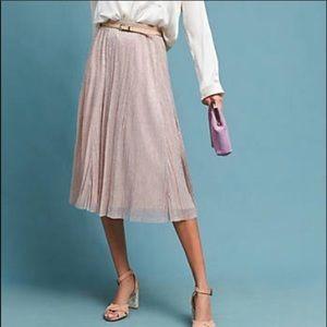 Anthropologie Maeve Ambra Pleated Rose Gold Skirt
